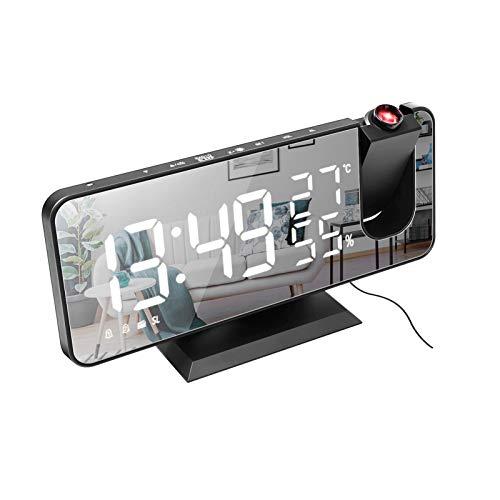 Galapara Digitale led-projectiewekker met spiegeloppervlak, 4-in-1 projectie, 180 graden temperatuur…