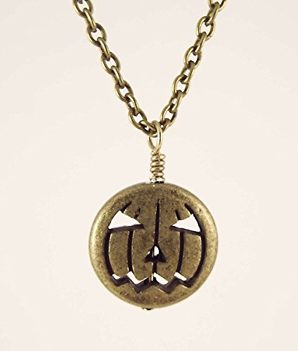 Antiqued Brass Toned Metal Jack O Lantern Pendant Necklace for Halloween (Autumn Brass Lantern)