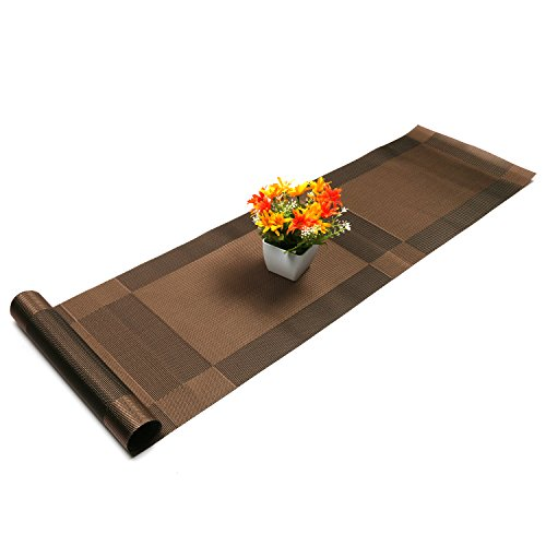 - U'Artlines Compatible Placemats Table Runner, 1 Piece Crossweave Woven Vinyl Table Runner Washable 30x180cm (Brown, Table Runner)