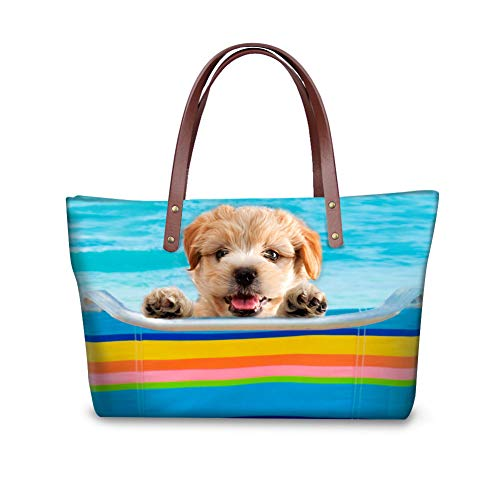 Showudesigns Pugs Dogs Design Handbag Bookbag for Women Famous Luxury Brand Black Puppy