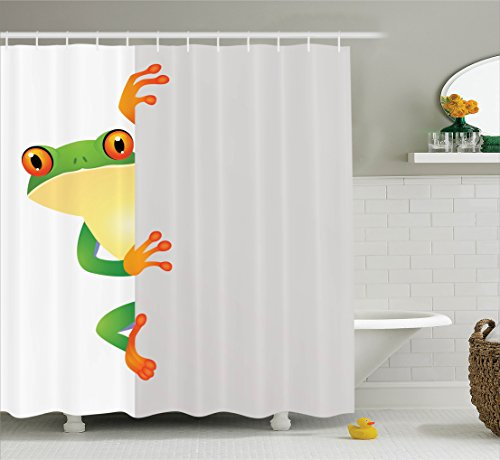 Ambesonne Reptile Decor Shower Curtain Set, Funky Frog Prince With Big Eyes On The Wall Camouflage Nursery Reptiles Decor, Bathroom Accessories, 69W X 70L Inches, Green Yellow Orange