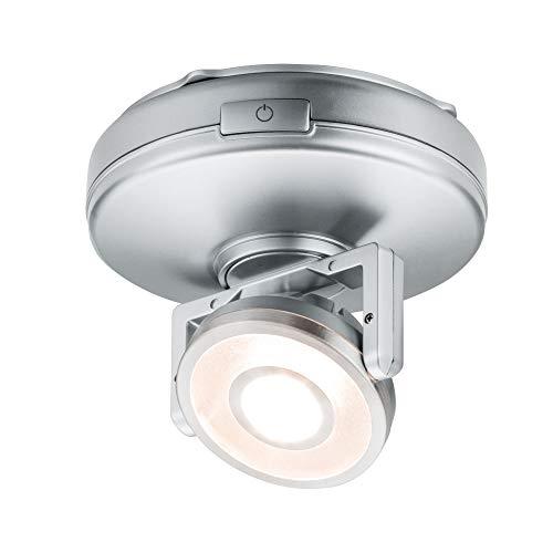 Paulmann 70637 Luminaria LED Rotate para Superficies de Trabajo, armarios, estanterías, 1 Foco, orientable, Regulable, Funcionamiento con Pilas, con Interruptor on/Off/regulación, 1 W, Cromo mate