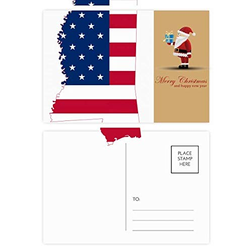 Mississippi USA Map Stars Stripes Flag Shape Santa Claus Postcard Set Thanks Card Mailing 20pcs (Mississippi Postcard)