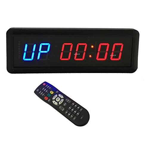 BTBSIGN LED Interval Timer Count Down/Up Clock Stopwatch with Remote For Home Gym Fitness 1.5'' Blue and Red
