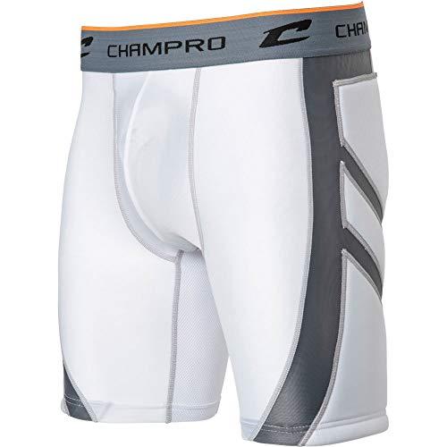 Mens Softball Sliding Shorts - CHAMPRO Mens Wind-Up Compression Sliding Short W/Cup White 2XL