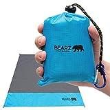 BEARZ Outdoor Beach Blanket/Compact Pocket Blanket 55″x60″ - Waterproof Picnic Blanket, Lightweight Camping Tarp, Festival Gear, Sand Proof Mat for Travel, Hiking, Sports - Packable w/Bag (Blue)