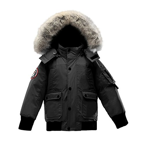 Triple F.A.T. Goose Grinnell Boys Down Jacket With Real Coyote Fur (4, Black) by Triple F.A.T. Goose