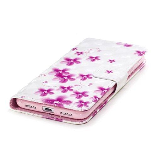 COWX Huawei P8 Lite 2017 Hülle, PU Leder Hülle für Huawei P8 Lite 2017 Tasche schutzhülle Cherry blossoms
