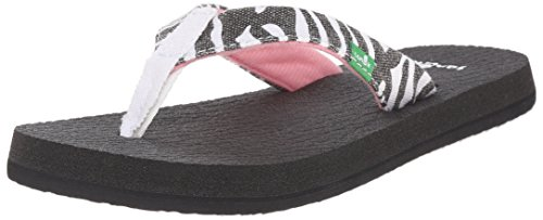 Sanuk Kids Yoga Wildlife Girls Flip Flop (Toddler/Little Kid/Big Kid), Zebra, 4/5 M US Big - Sale Havianas