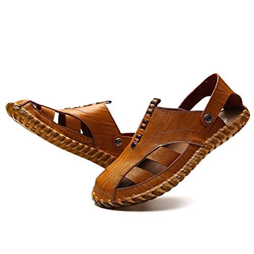 Slip Baotou Rotonda Pantofole Stretta Marrone Usura Casual Sandali Testa Giallo Feidaeu YxAdg7A