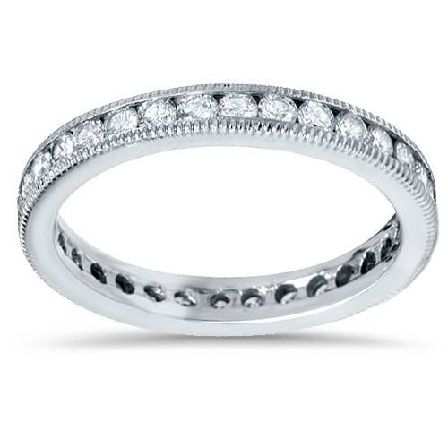 1ct Channel Set Diamond Eternity Ring 14K White Gold - Size 7
