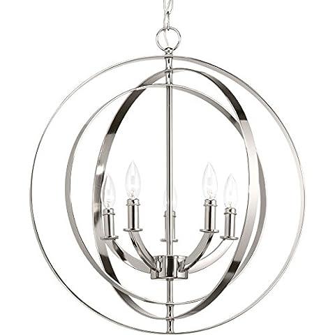 Progress Lighting P3841-104 Equinox Five-Light Sphere Lantern, Brushed Nickel - Nickel Lantern Pendant
