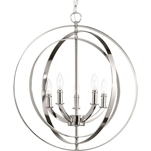 Progress Lighting P3841-104 Equinox Five-Light Sphere Lantern, Polished Nickel