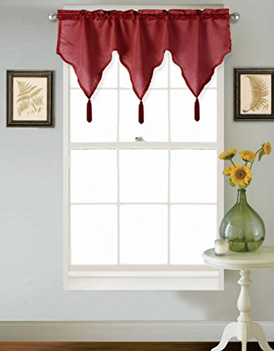 GorgeousHome (SARAH) 1PC Solid Faux Silk Versatile Multi Use Luxury Rod Pocket Ascot Small Window Valance Topper Waterfall Treatment w/ FringesTassels 24