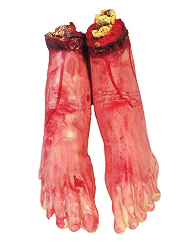 AOBOR Halloween Decoration Haunted House Scary Fake Bloody Broken Severed Hand Body Prank Party Props (Feet) ()