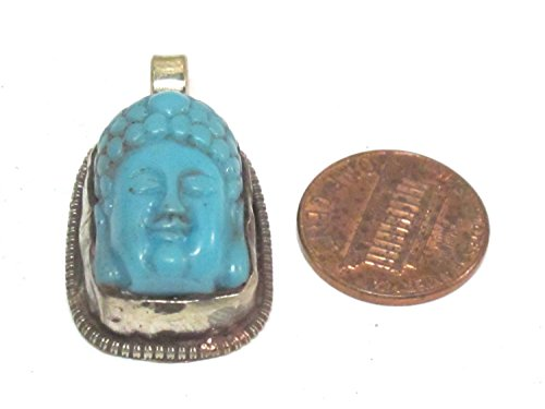 - 1 pendant - Small size Tibetan Nepal Buddha resin charm pendant with floral carving on other side - PM590