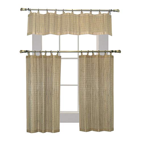 Versailles Patented 36'' Valence and Tier Set in Driftwood by Versailles Home Fashions