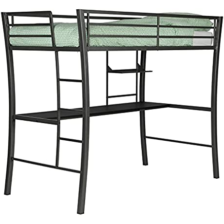 DHP Metropolis Twin Metal Loft Bed With Desk And Ladder Gunmetal Grey