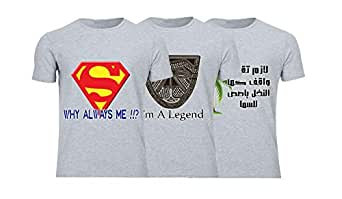 Geek ET1782 Set Of 3 T-Shirt For Men-Grey, 3 Xlarge