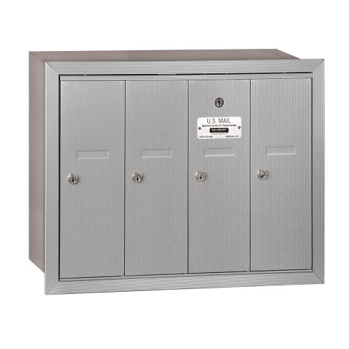 Salsbury Industries 3504ARU Recessed Mounted Vertical Mailbox with 4 Doors and USPS Access, Aluminum by Salsbury Industries