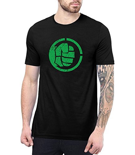 Decrum Mens Black Halk T-Shirt Crewneck Superhero Shirt for Adult | Halk Fist, XXL ()