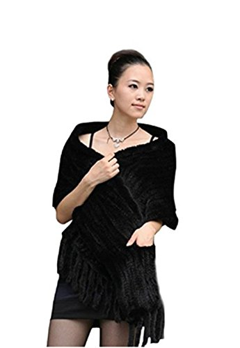 qmfur Women's Large Real Genuine Knitted Mink Fur Shawl/Wrap/Stole/Scarf Pocket Fringes(Black)