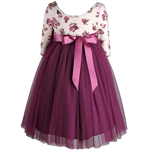 (Flofallzique 3/4 Sleeve Maxi Girls Dress Princess Tulle Vintage Floral Toddler Dress (1T, Plum))