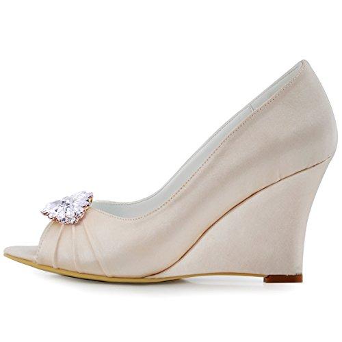 Fleur Diamant De Soiree Wp1547 Elegantpark Mobile Escarpins Champagne Bijou Compense Satin Chaussures Talon Femme Aw Af01 zOOnx78