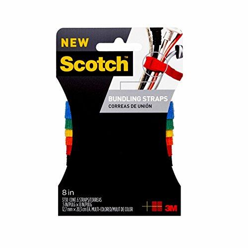 Scotch RF3730 Bundling Strap, 0.5 x 8-in, Assorted Colors, 6-Pack