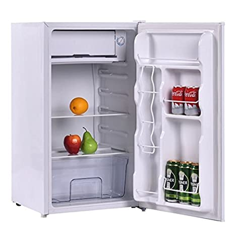 3.2 Cubic Feet Compact Single Reversible Door Mini Refrigerator Cabinet With Internal Freezer Ideal For Use In Dorm Office Or Your Mini Bar Adjustable Temperature Easy To - Auto Defrost Left Hinge