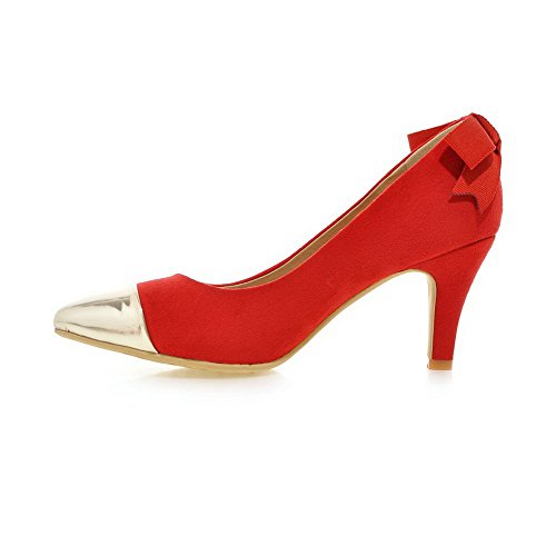 Closed High Pumps Pointed Women's Shoes on Heels Pull WeenFashion Materials Red Blend Toe UqAwYU8g6