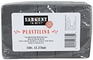 Sargent Art Plastilina Modeling Clay, 5-Pound, Gray