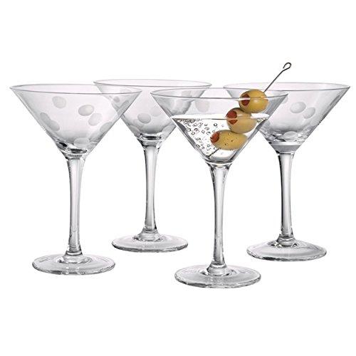 Artland 65201B Polka Dot Martini Glass, Clear, Set of 4