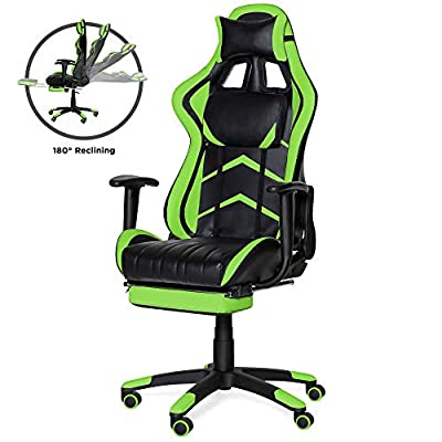 Best Choice Products Ergonomic High Back Executive Office Computer Racing Gaming Chair with 360-Degree Swivel, 180-Degree Reclining, Footrest, Adjustable Armrests, Headrest, Lumbar Support