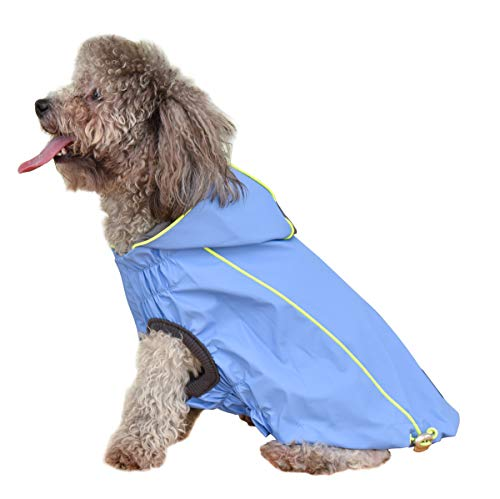 Vest Waterproof Windproof - OSPet Dog Raincoat Waterproof Windproof Lightweight Dog Coat Jacket Double-Sided Jacket with Hood Vest Harness for Small Medium Dogs