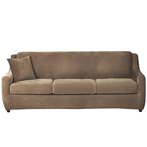 Sure Fit Stretch Pique 3-Seat Sleeper Sofa Slipcover - Taupe (SF40011) (Slipcovers 4 Cushion T Piece Sofa)