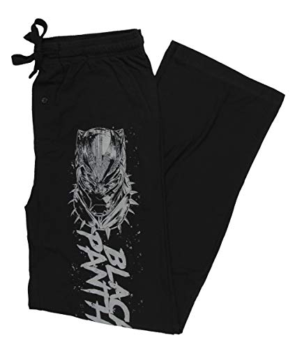 Black Close Panther Up (Marvel Black Panther Men's T'Challa Mask Script Poster Logo Lounge Pants Small)