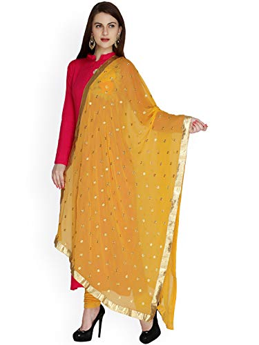 (TMS Woman's Embroidered Chiffon Dupatta Scarf Shawl Wrap Soft Indian Bridal Wedding (Mustard)