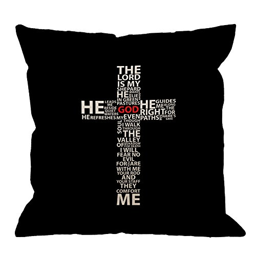 (HGOD DESIGNS Cross Pillow Cover, Beautiful Design Quote Cross Cotton Linen Cushion Cover Square Standard Home Decorative Throw Pillow for Men/Women 18x18 inch Black White)