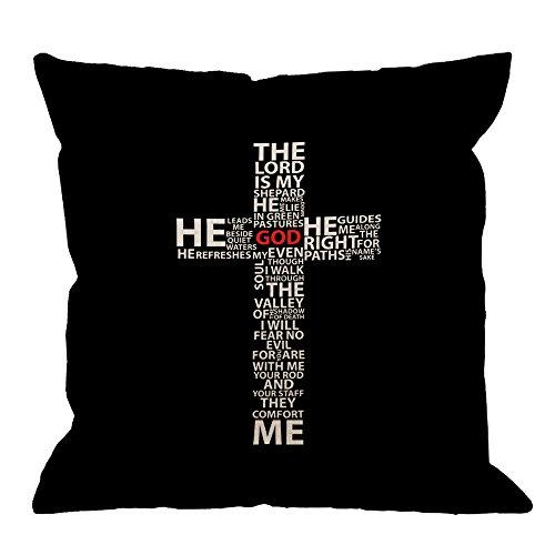 HGOD DESIGNS Cross Pillow Cover, Beautiful Design God Jesus Christ Christian Cross Cotton Linen Cushion Cover Square Standard Home Decorative Throw Pillow for Men/Women/Kids 18x18 inch Black White