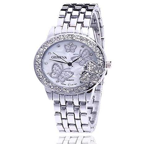 Reloj De Mujer – Elegante de acero inoxidable reloj de pulsera con brillantes – Reloj de