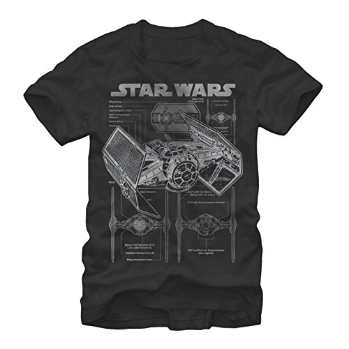 Star Wars Men's TIE Fighter Blueprint Black T-Shirt