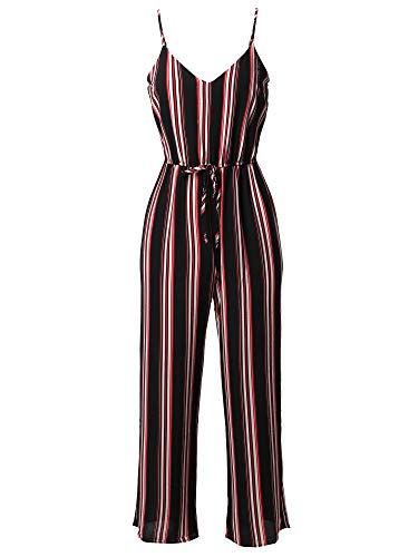 Awesome21 Casual Stripe Printed Wide Leg Camisole Jumpsuit Romper Black Red M