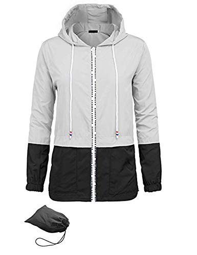 UUANG Women's Lightweight Packable Rain Jacket Hooded Waterproof Windbreaker