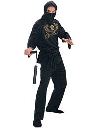 Deluxe Adult Ninja Costume, Black, Medium