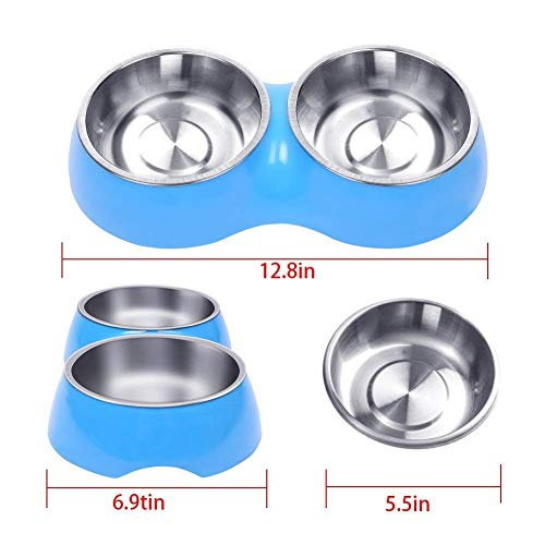 (EBERS Dog Bowls Elevated Dog Cat Bowls Double Premium Stainless Steel Pet Bowls with No-Spill Resin Station Pet Food Water Feeder)