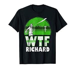 WTF Richard Funny Distressed Disc Golf T-shirt