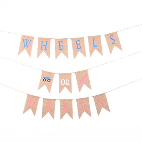 (GOER Baby Shower Banner for Baby Shower Party Decorations,WHEELS OR HEELS Pattern Bunting,No DIY Required Natural Burlap Banner,Total Length 270 Inch)