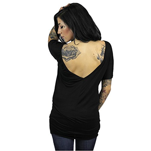 Sullen Clothing - Sullen Angels Damen T-Shirt Schädel - Hard Pocket Tunic Top Longtop mit Rückenausschnitt