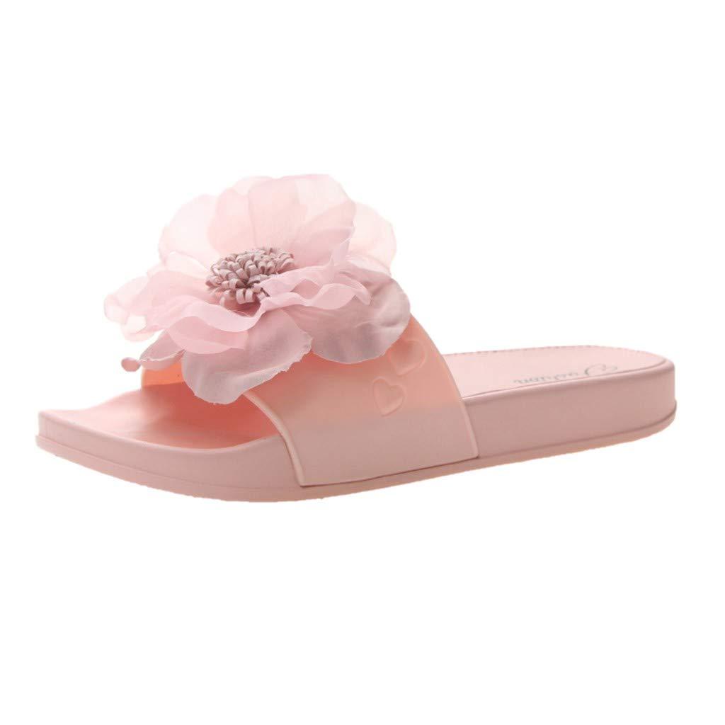 Women Flower Non-Slip Shower Sandals,FAPIZI House Soft Foams Sole Pool Slippers Bathroom Slide Water Shoes Pink